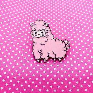 Pink Alpaca Enamel Pin